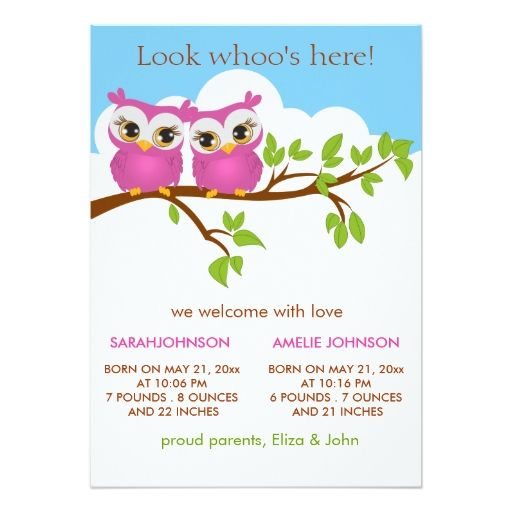 twin baby girl birth announcements