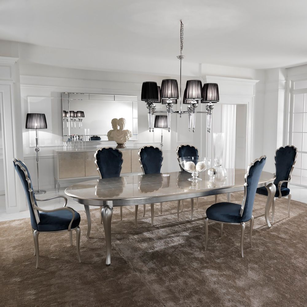 Superieur Silver Leaf Dining Set Including Navy Blue Velvet Chairs, Discover  Beautiful Collections Of Silver Dining Sets At Julietteu0027s Interiors.