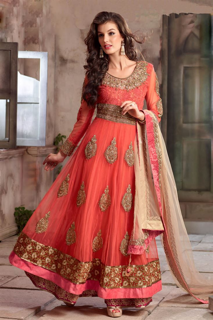 Designer salwar kameez mesmeric peach color net designer suit - Peach Color Designer Anarkali Suit 4105a