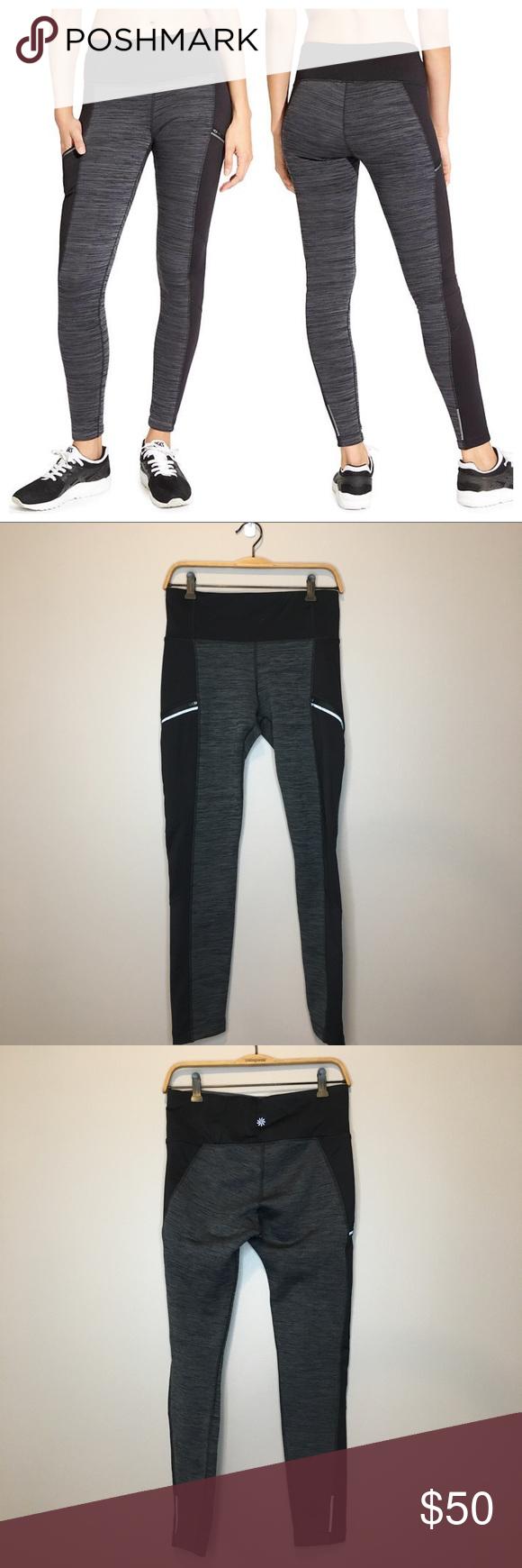 d7f7ce7aa62a9b Athleta Powerlift Tight 2.0 - Fleece Lined Pants Like new Athleta Powerlift  Tight 2.0 in size medium. Black and gray fleece lined pants.