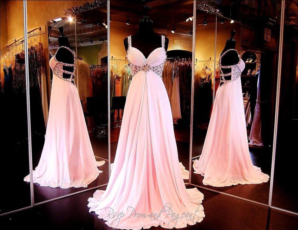 Light pink chiffon prom or pageant dresssweetheart necklinebeaded