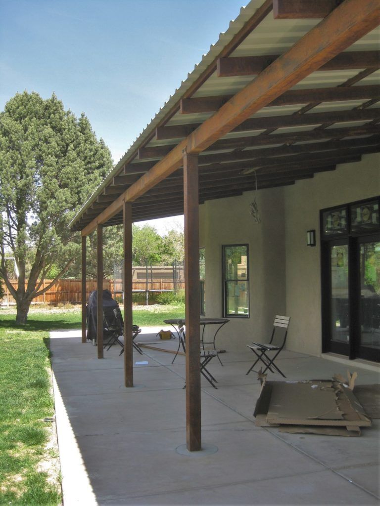 Shade Structures Rusted Steel Support Beams Patio Shade Covered