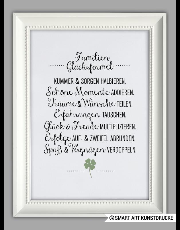 """Originaldruck - """"FAMILIEN GLÜCKSFORMEL"""" Hausordnung für Glück - ein Designerstück von Smart-Art-Kunstdrucke bei DaWanda"""