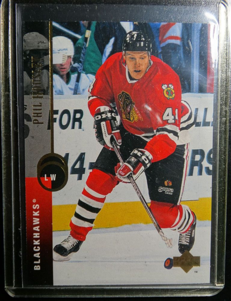 1994 95 Upper Deck 36 Patrick Poulin Blackhawks Hockey Error Wrong Name Card Blackhawks Blackhawks Hockey Hockey Cards