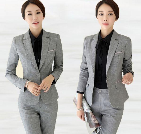 g nstige versandkostenfrei grau und schwarz blazer hosen b ro zu tragen anzug neue mode dame. Black Bedroom Furniture Sets. Home Design Ideas