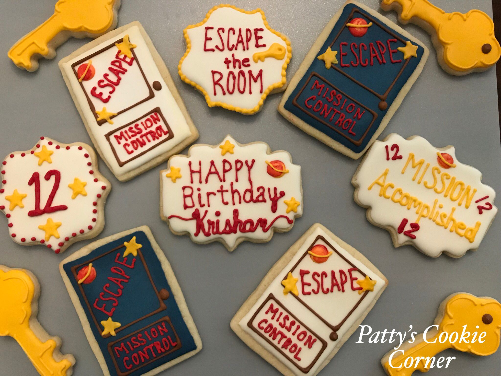 Escape The Room Cookies Mission Control Cookies Pattyscookiecorner Escapetheroomcookies Missioncontrolc Birthday Party Food Birthday Cookies Sleepover Food
