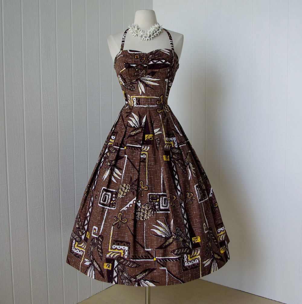 vintage 1950\'s dress ...alfred SHAHEEN cotton hawaiian tiki tapa ...