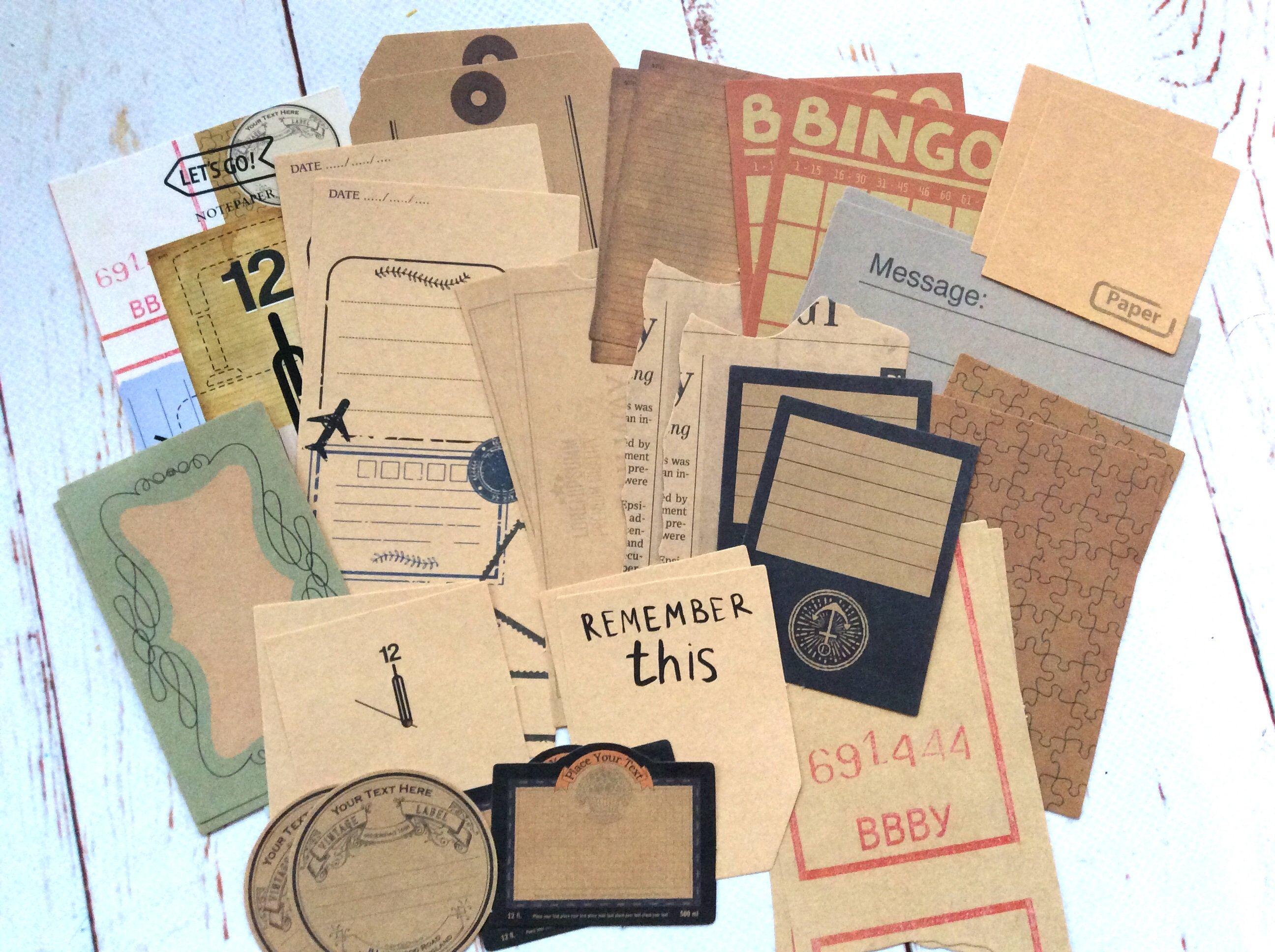 Retro Collage Kraft Paper Set Bullet Journal Planner Vintage Paper Theme Ephemera Papers Scrapbooking Vintage Paper Planner Vintage Planner Bullet Journal