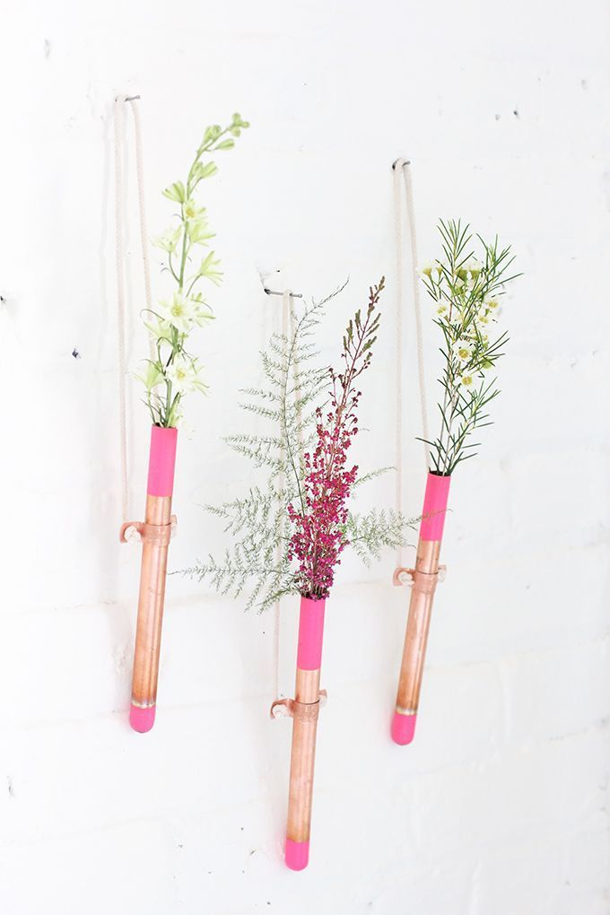 Display Flowers In Inexpensive Bud Vases Made Of Simple Copper Tubes
