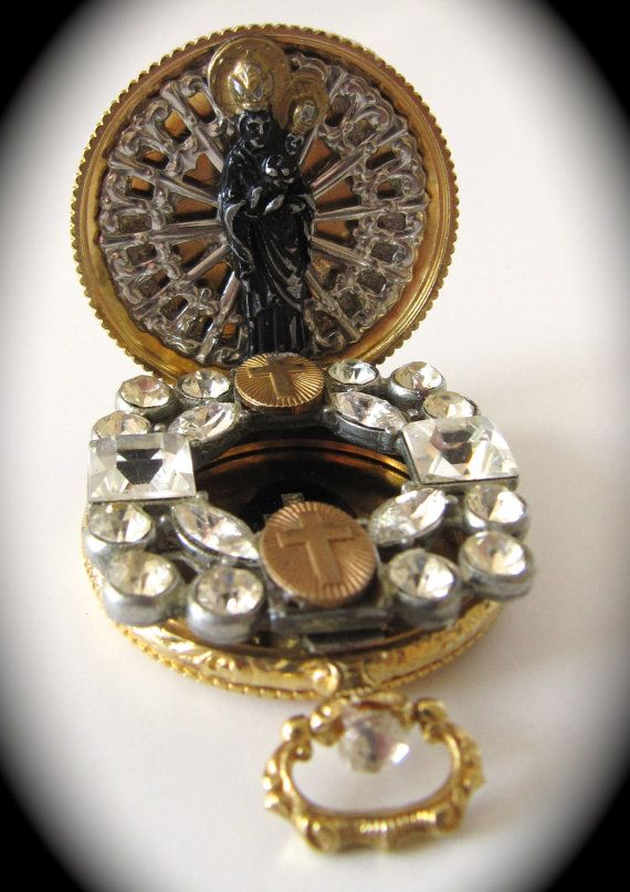 Virgin Mary Gold Halo Icon Locket Shrine Religious by WickedCrafts, $45.00
