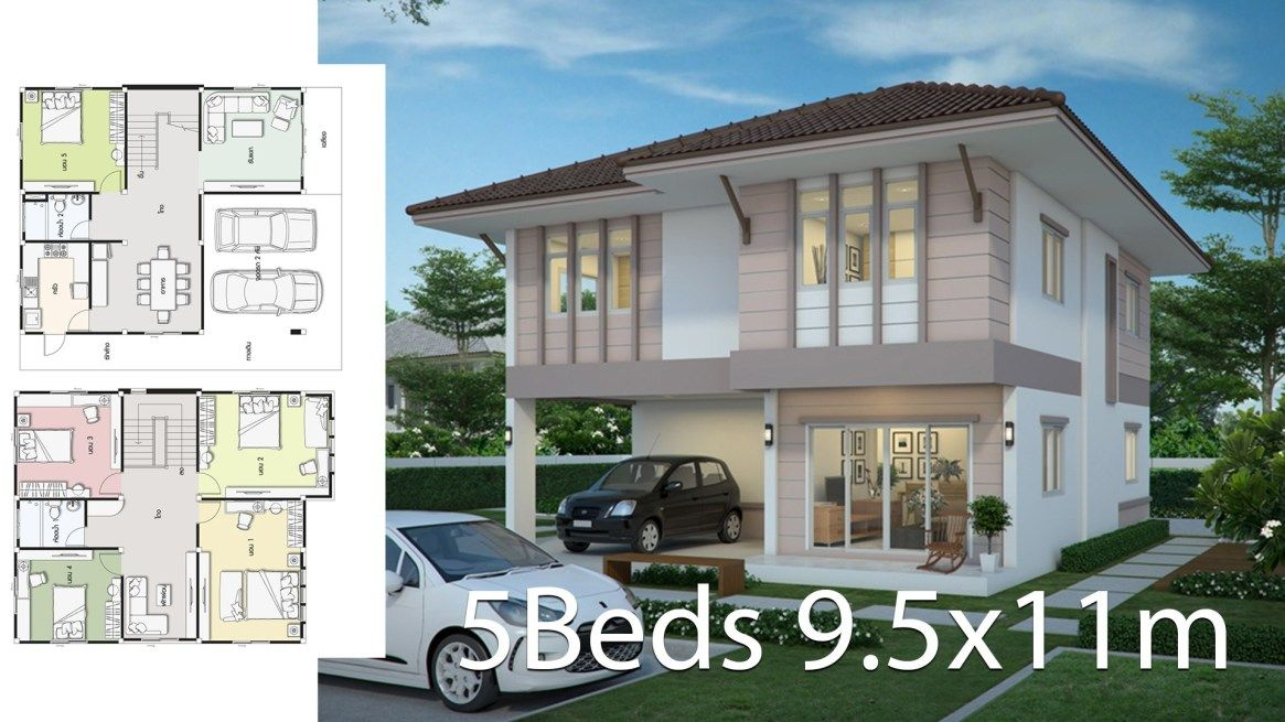 House Design Plan 9 5x11m With 5 Bedrooms Home Design With Plansearch Home Design Plans House Design Bedroom House Plans