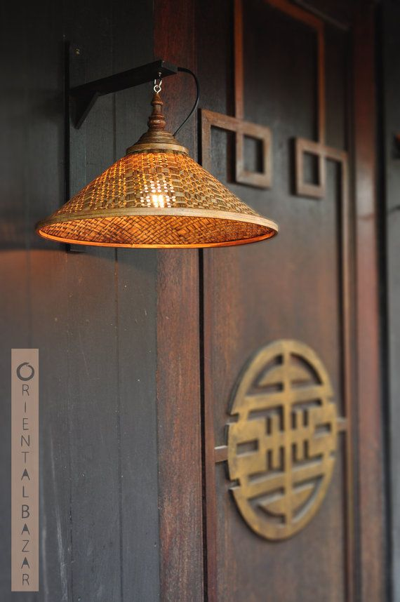 stylist asian ceiling light fixtures. Oriental Bazar Hand woven and Coiled Bamboo Wall Lamp Shade  Rustic