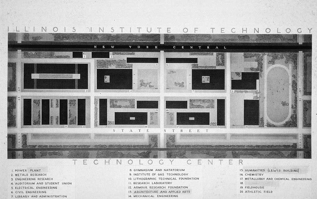 iit chicago campus map Mies Van Der Rohe S Campus Plan For The Iit In 1942 46 Chicago iit chicago campus map
