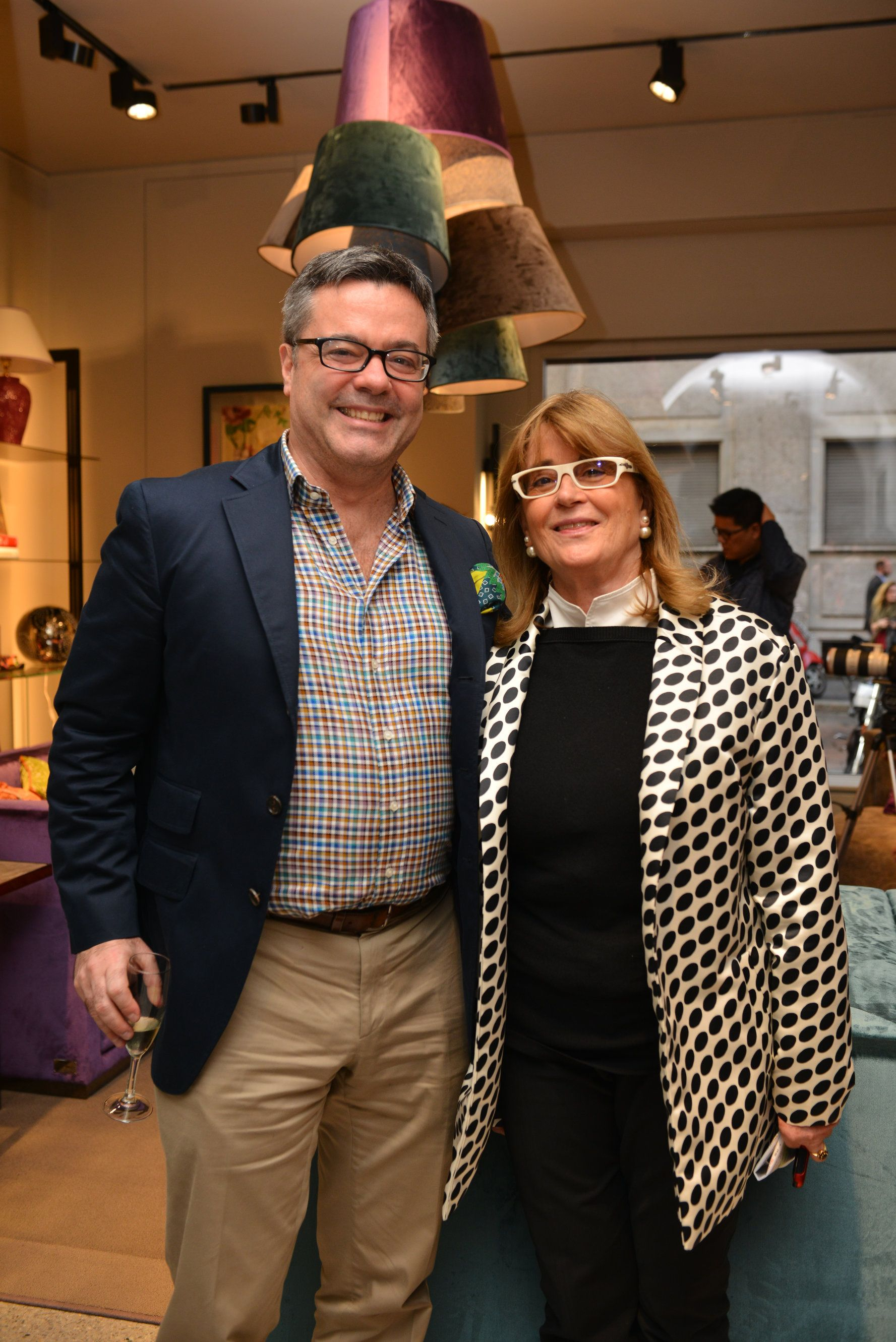 Jacopo Etro with Gilda Bojardi at the presentation of the new Etro Home Furnishings collection held at Etro Home in via Pontaccio 17, Milan
