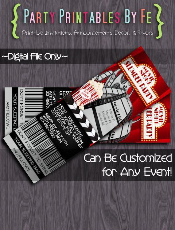 Printable Slumber Party Ticket Invitation ~ Movie Night Slumber Party ~ TIXI17