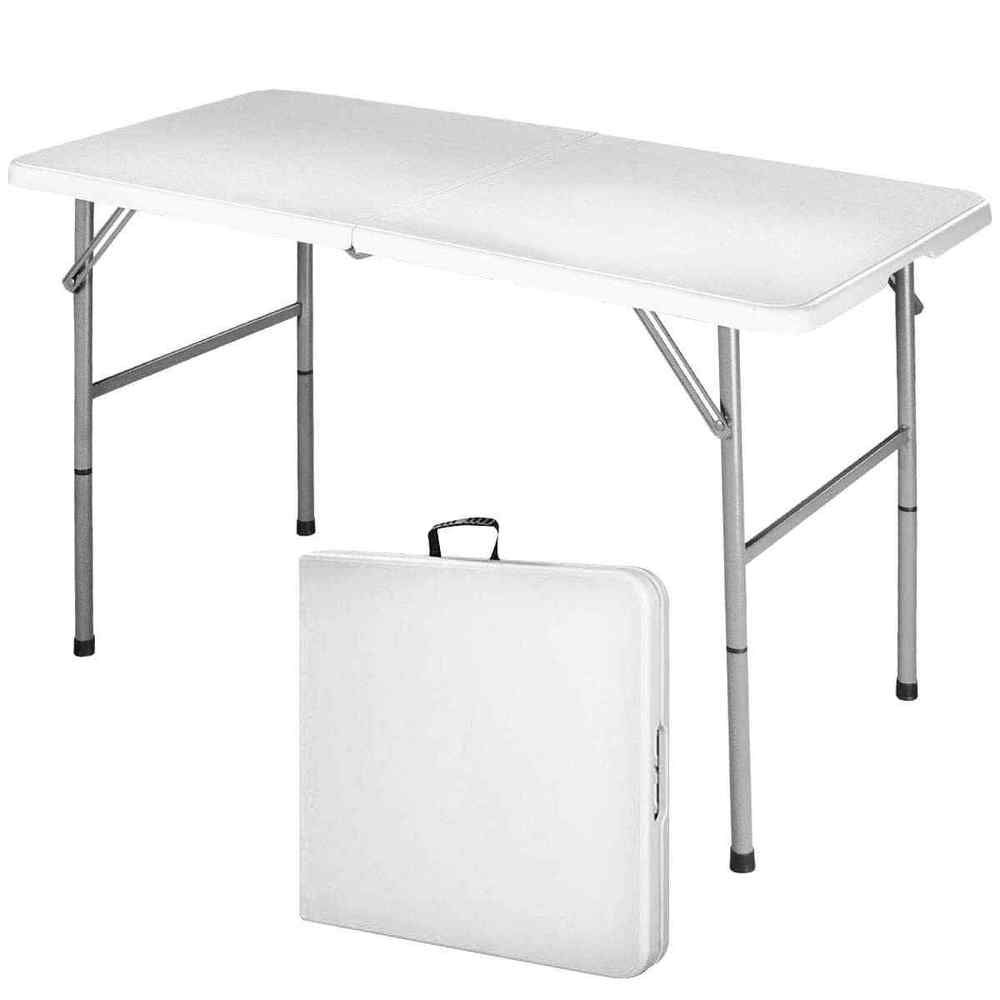 Portable Aluminum Folding Table 4 Ft Indoor Outdoor Camp Party Banquet Surface Costway Camping Table Outdoor Picnic Tables Folding Table