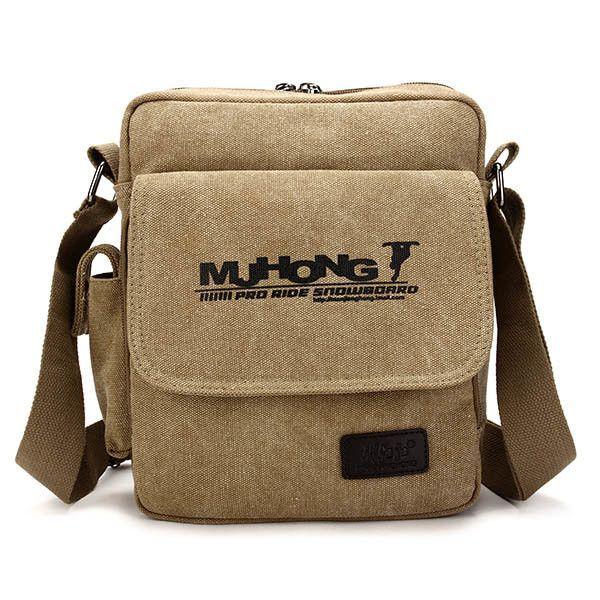 Men Canvas Casual Vintage Crossbody Bag Outdoor Business Zipper Shoulder Bag