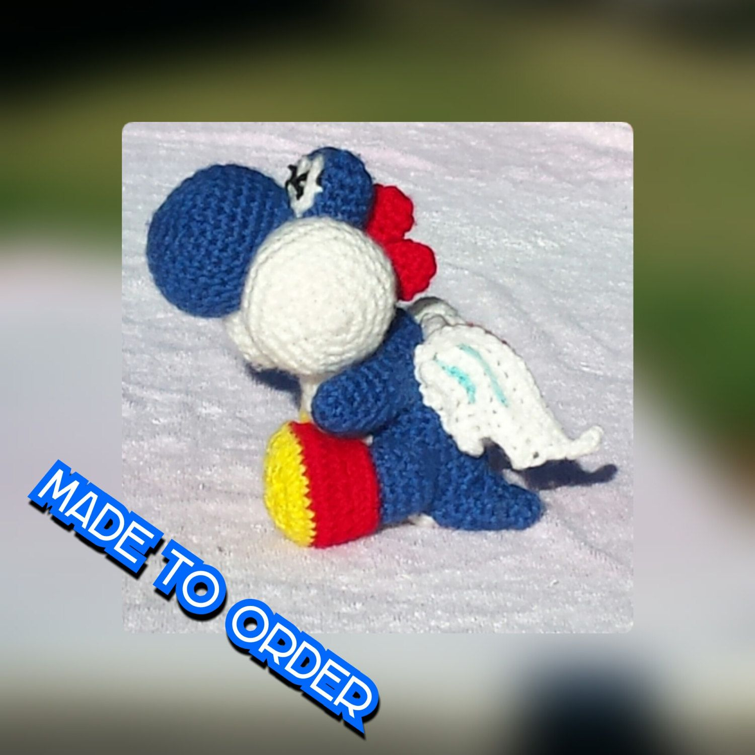 Crochet blue yoshi inspired doll from Yoshi\'s Woolly world video ...