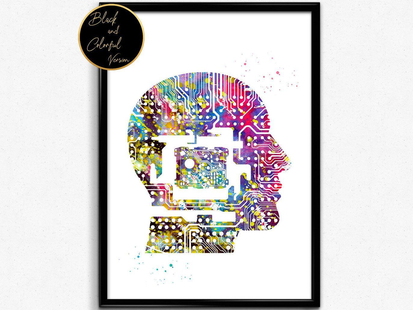 Circuit Man Head With Chip Watercolor Print Computer Science