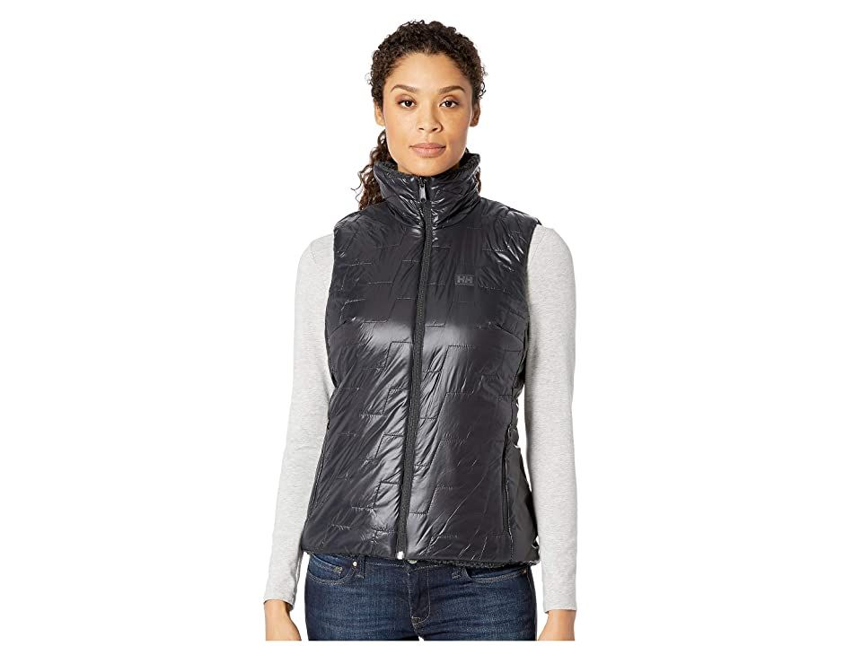 Helly Hansen Lifaloft Propile Vest (Black/Charcoal) Girl's Vest. Insulation alone is fine for everyday cold-weather performance  but when you're moving on the snow  you need breathability in the mix as well. The Helly Hansen Lifaloft Propile Vest utilizes specialized polyfill that sheds energy-sapping perspiration while retaining warmth to keep you on the slopes for longer. Reversible insulator vest switches from a woven to a  #HellyHansen #Apparel #Top #Vest #Black