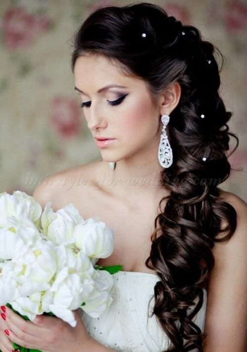 Long Thick And Curly Wedding Hairstyle Half Up Down