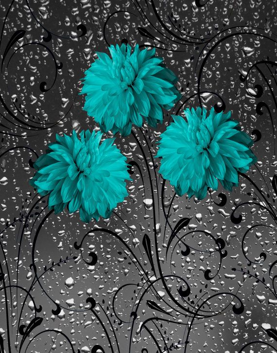 Teal Gray Wall Art Photography Floral Decorative Bathroom Bedroom Home Decor Matted Picture Grey Wall Art Teal Wall Art Teal Wall Decor