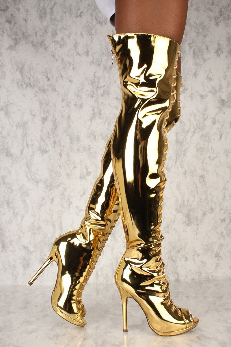 979d233943c Sexy Mirror Gold Peep Toe High Heels Thigh High Boots Patent