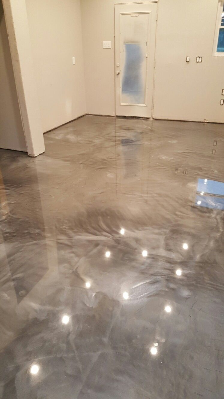 Titanium and pearl reflector metallic epoxy floor by ras for Concrete basement floor