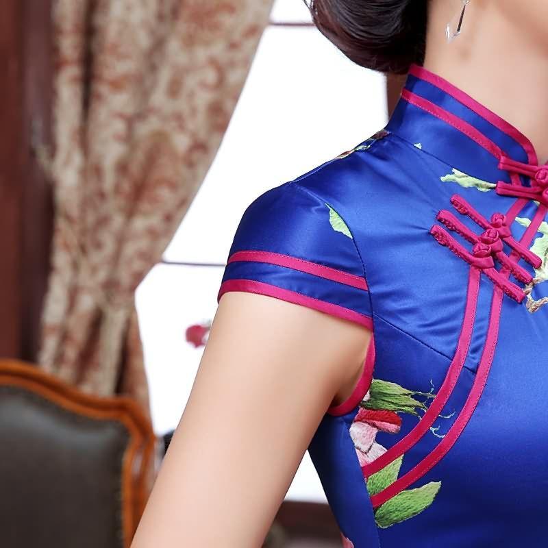 Long length Satin Fabric Cheongsam Qipao Chinese dress C0081 Details 01