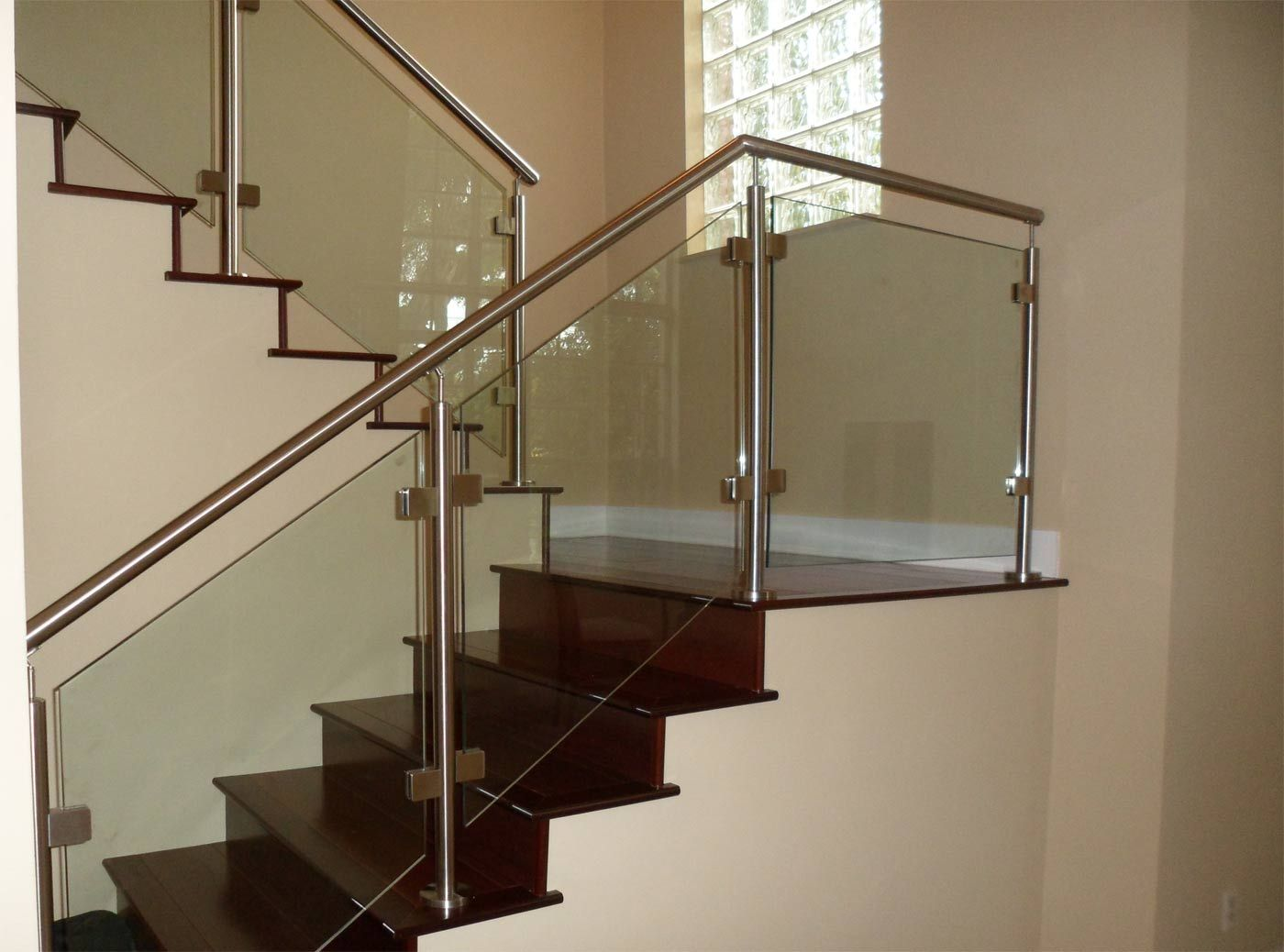 Stair, : Modern Image Of Home Interior Decoration With Half Turn Solid  Cherry Wood Staircase Including Glass Stainless Steel Staircase Railing And  Steel ...