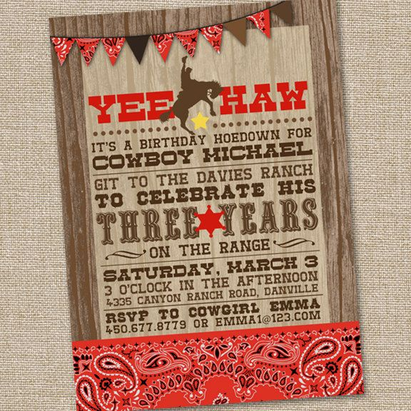 17 Best images about Invites – Wild West Birthday Invitations