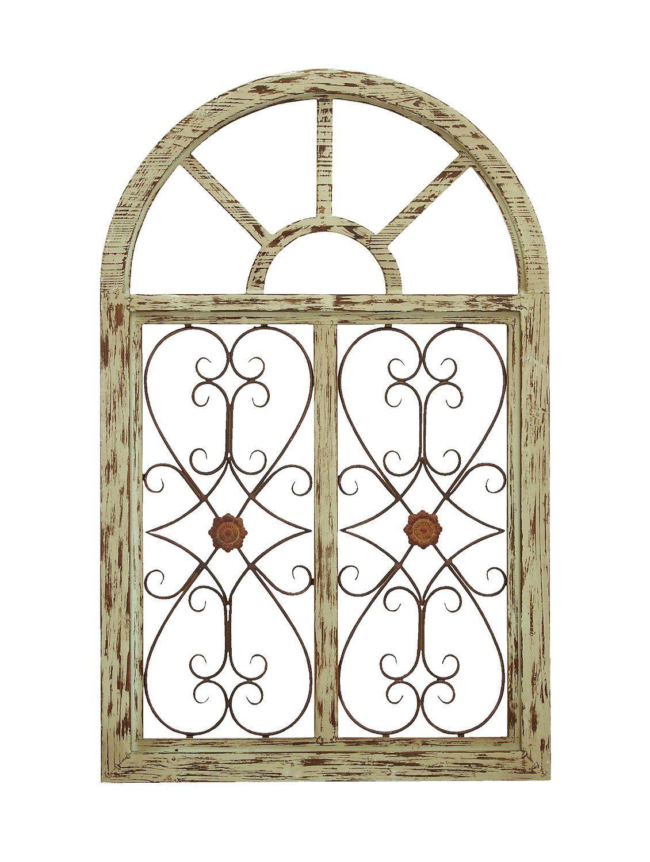 Iron Gate Wall Decor Glamorous Amazon  Benzara 66778 Wooden Gate Style Garden Wall Plaque Inspiration Design