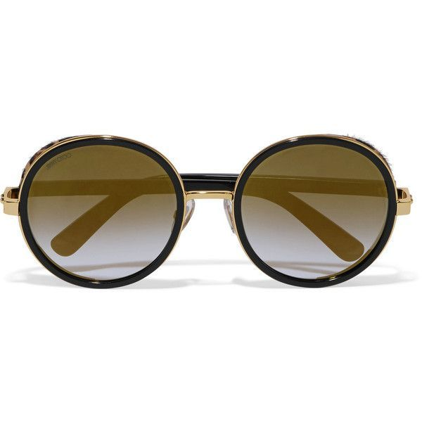 leopard print round frame sunglasses - Brown Jimmy Choo Eyewear