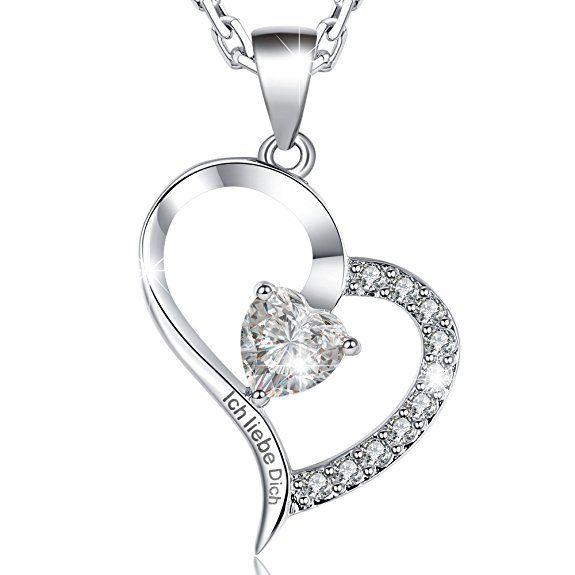 Modeschmuck Zirkonia Herz Anhänger Kette crystal Liebe