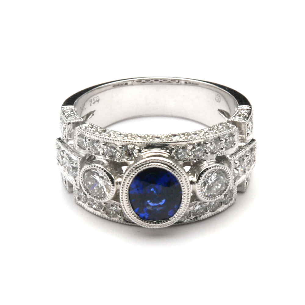 534538835c wide band ring gemstones | Wide Intricate Bezel Sapphire and Diamond ...