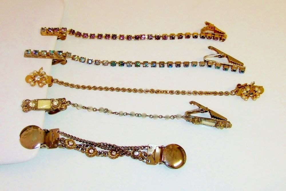 1091~Vintage Lot~5 Sweater Guards Gold & Silver Tone Rhinestones Faux Pearls MOP