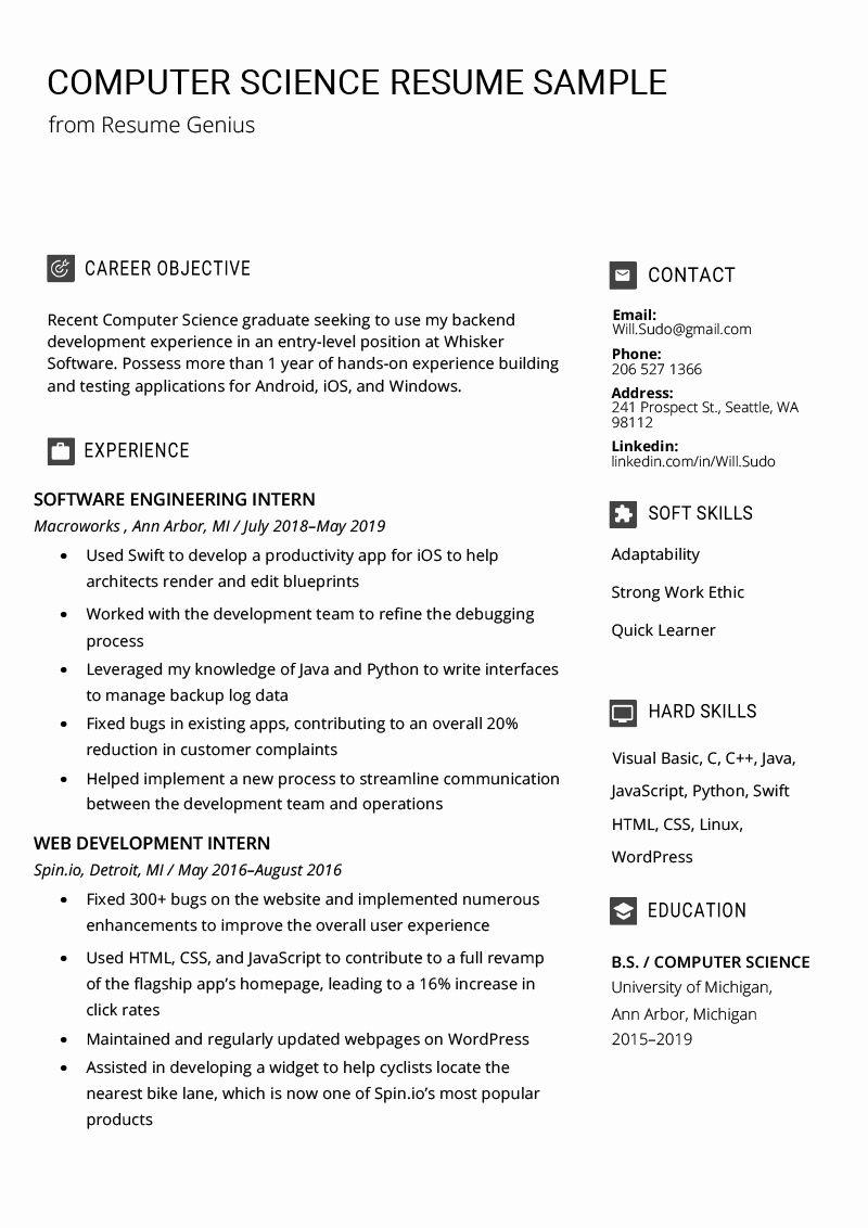 Computer Science Undergraduate Resume New Puter Science Resume Sample Writing Tips