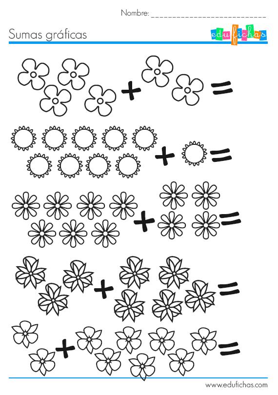 Fichas de matematicas para aprender a sumar… | hojas graficas ...
