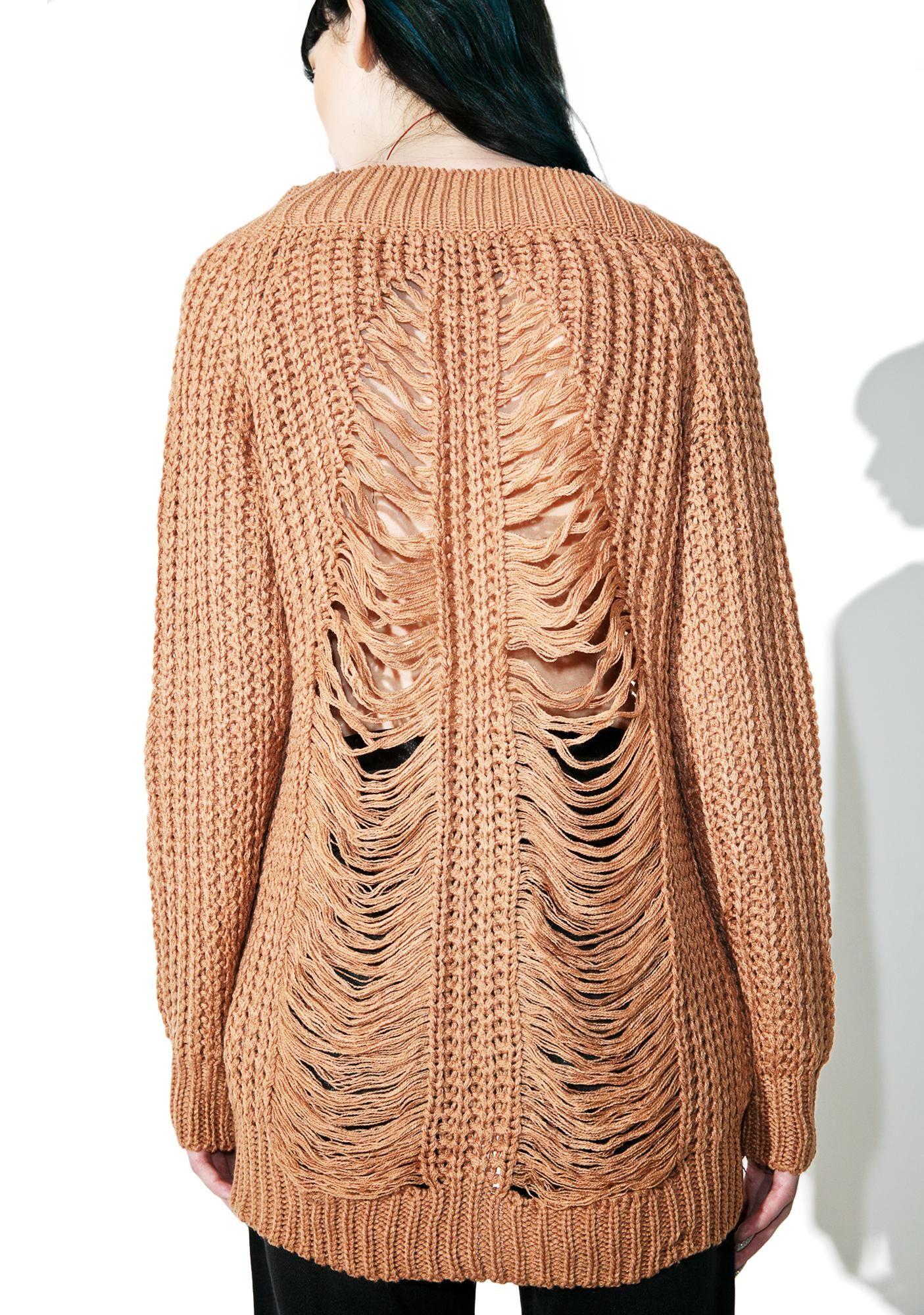 Salted Caramel Shredded Sweater | Light browns, Streetwear ...