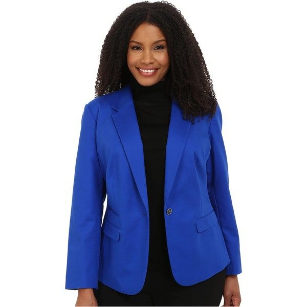 9a21b282eda Vince Camuto Plus Size One Button Blazer (Sapphire) ( 75) ❤ liked on  Polyvore featuring outerwear