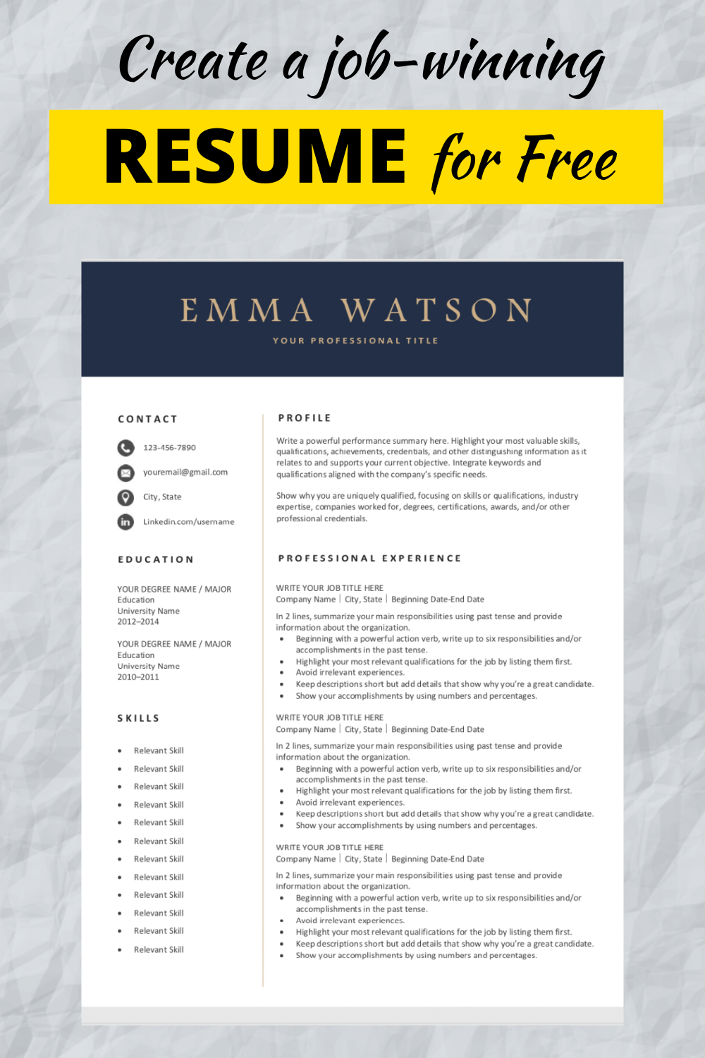 Professional Resume Template Download for Free in 2020