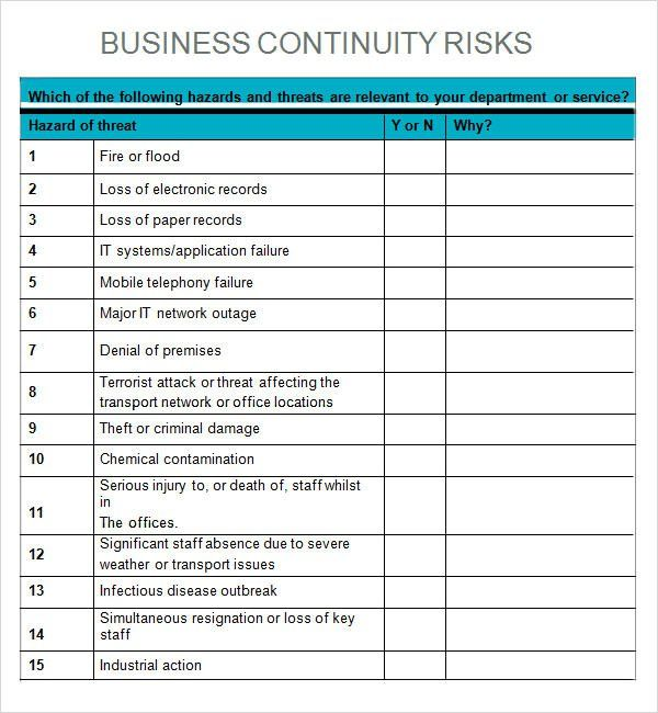 preparedness for tsunami business impact analysis templates Office