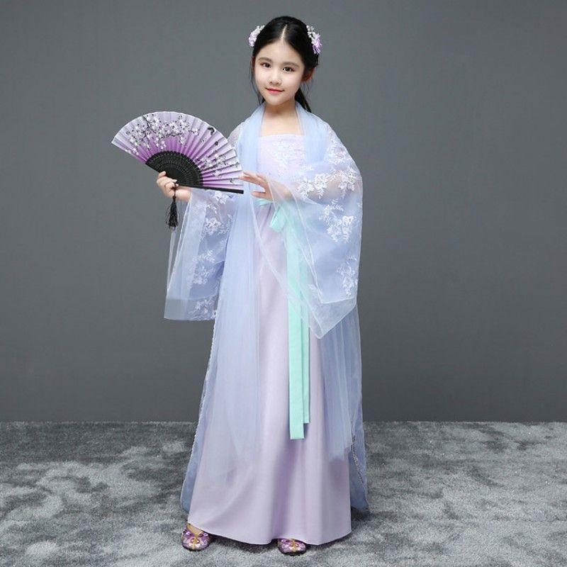 5deb26f7f Chinese folk dance costumes hanfu light pink blue for girls fairy stage  performance princess drama cosplay