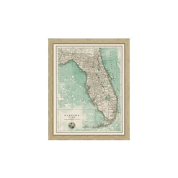 Florida Sepia Framed Map ($299) ❤ liked on Polyvore featuring home ...