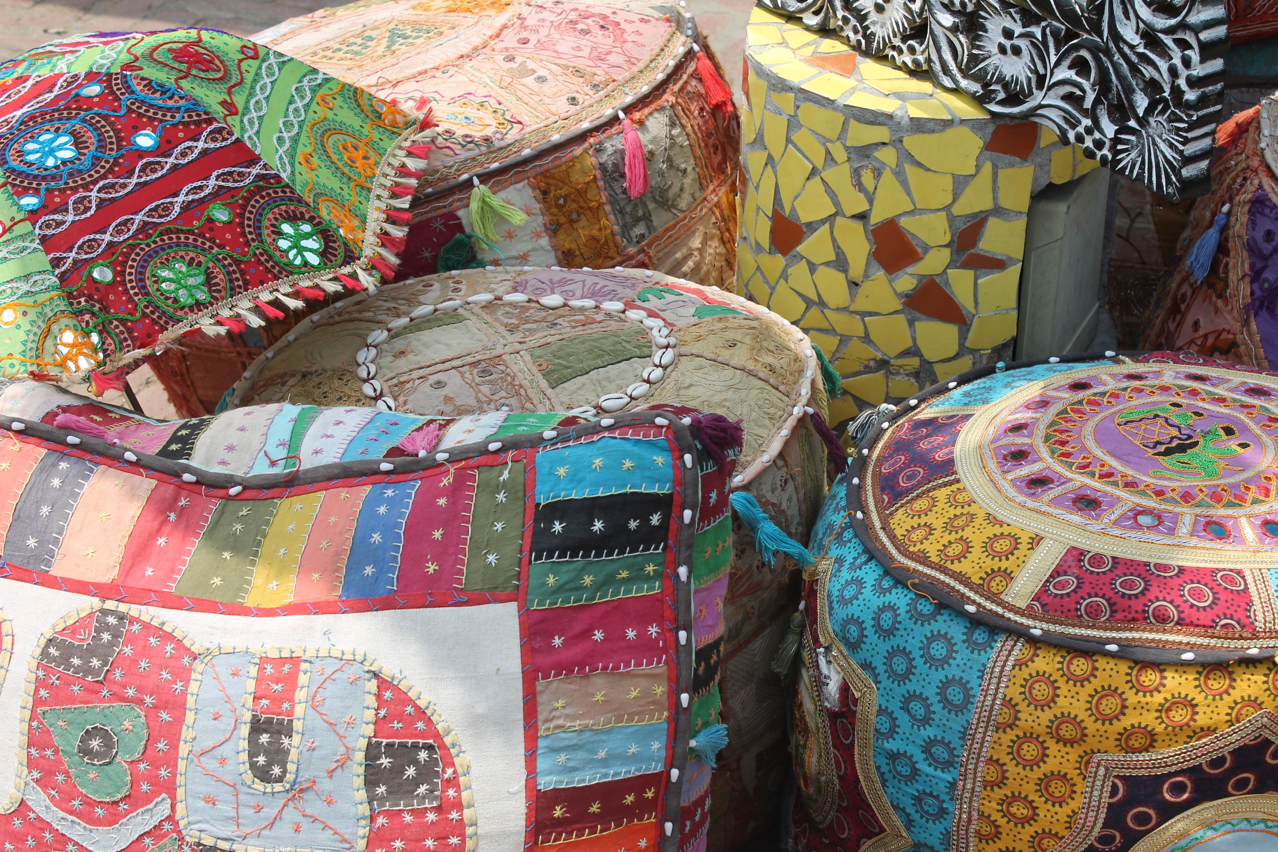 Great Poufs, Cushions, And Umbrellas At Dilli Haat In New Delhi, India.