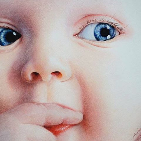 Colored Pencil Portrait If A Blue Eyed Baby By At Monkeywangart