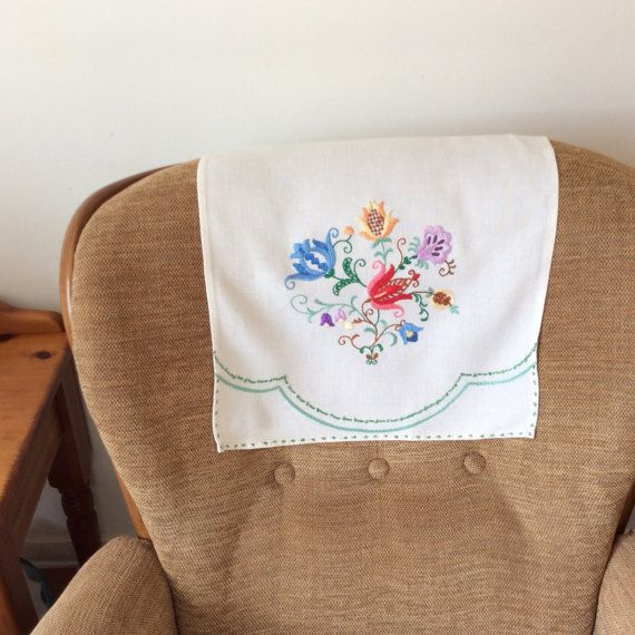 Embroidered Chair Back Covers Vintage Embroidery Pair Of Etsy Chair Back Covers Vintage Embroidery Chair Backs