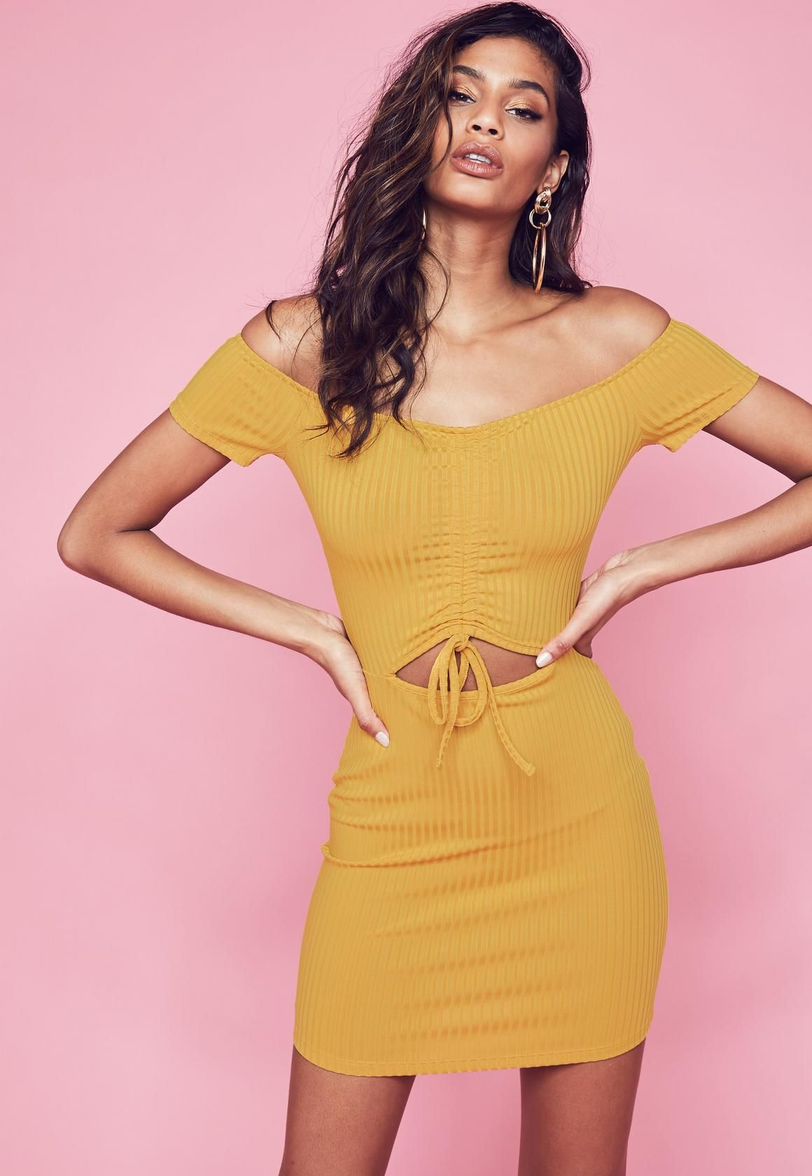 157c5912664 Mustard Ribbed Bardot Ruched Front Bodycon Dress