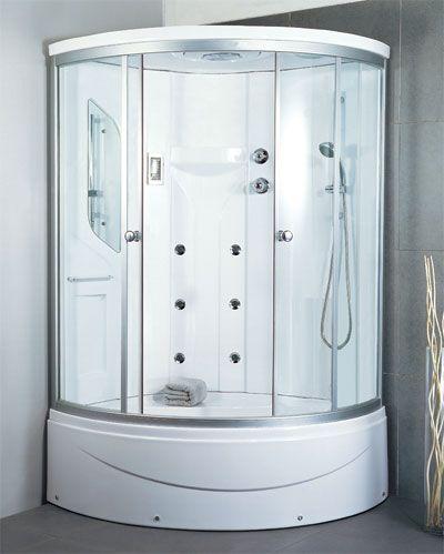Delicieux LineaAqua Shower Enclosures LineaAqua Sunrise 48 X 48 Corner Shower  Enclosure, 6 Body Sprays, Hand Shower, Acrylic Seat And Soaking Bath Tub  With FM Radio ...