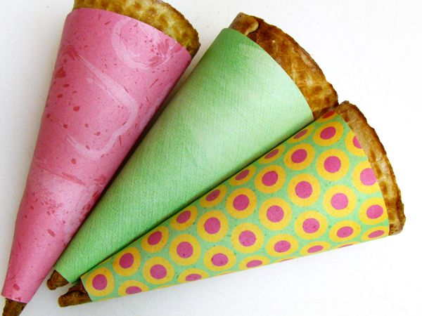 DIY ice cream cone paper...super cute...now all I need is that waffle cone maker and we are set!
